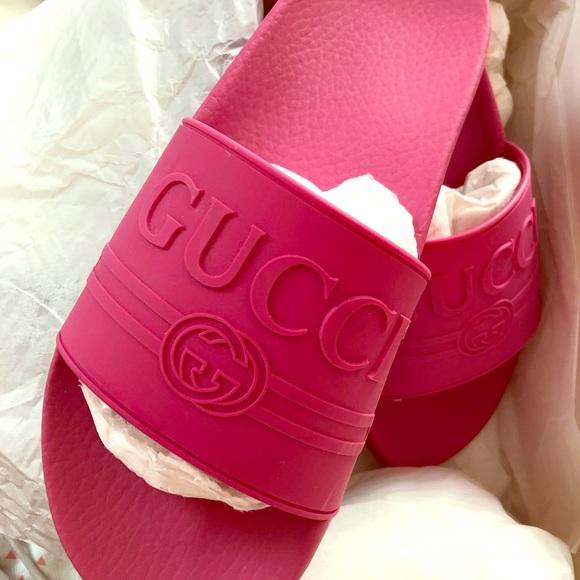 78bc086a9 Gucci Shoes - Gucci Logo Rubber Slide Sandal